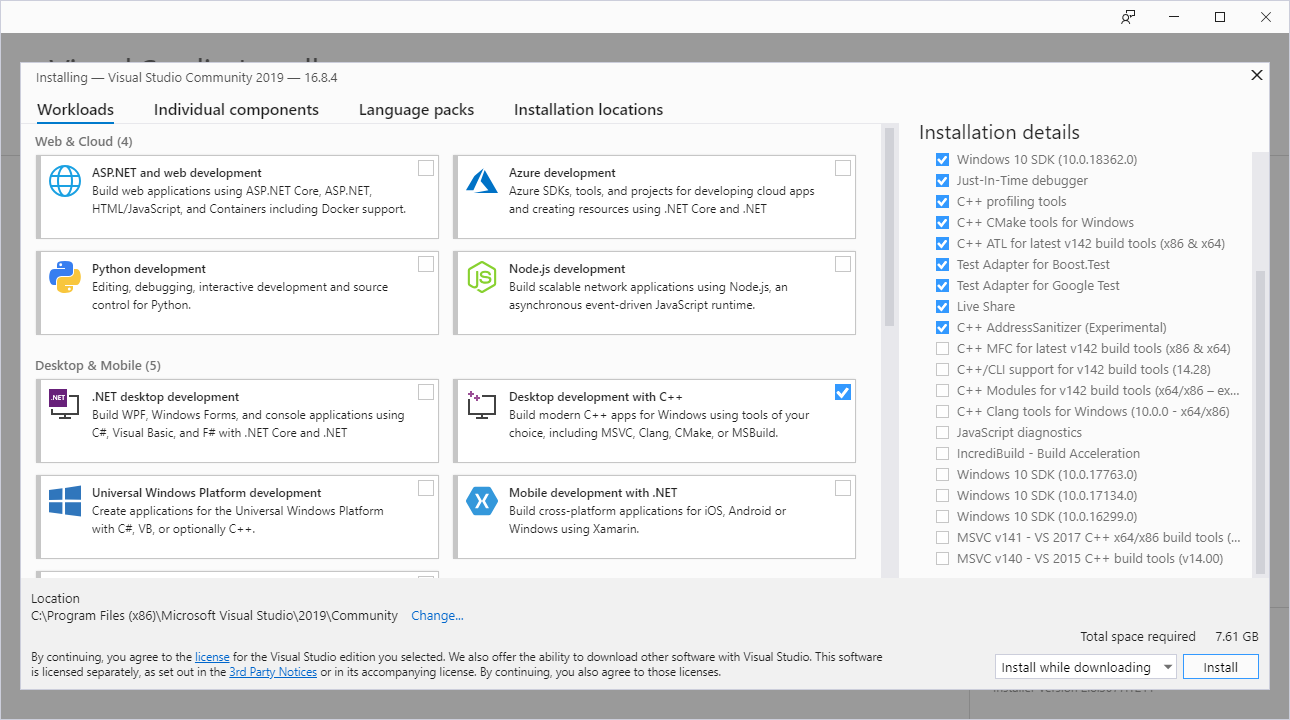 Collabora - Installing Visual Studio
