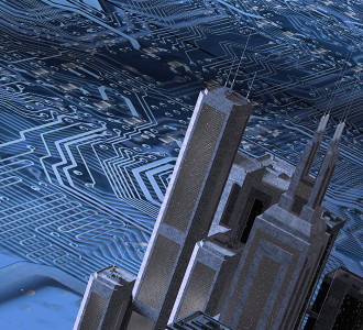3D render of a city over a printed circuit image